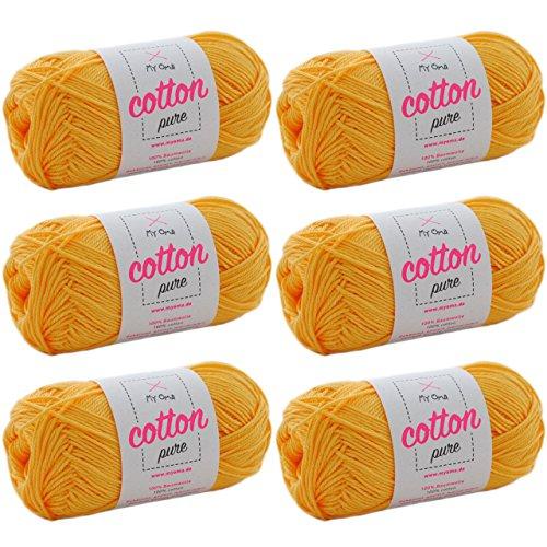 MyOma Baumwolle Garn Cotton Pure honiggelb (Fb 0114)* Baumwolle zum Stricken und Häkeln + GRATIS Anleitung - 6 Knäuel Baumwolle gelb/gelbes Baumwollgarn 50g/125m - Nadelstärke 2,5-3,5mm - Baumwollgarn 3 Größe