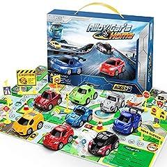 Idea Regalo - Lenbest Mini Auto Giocattolo Metallo Macchinine Tirare Indietro Camion per Bambino - Camion Modello Attrito 8 Pezzi per i Bambini Oltre 3 Anni