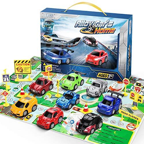 Lenbest Fahrzeuge Geschenkset, 8er Zurück Schieben Spielzeug Autos mit 10 Verkehrszeichen, Matchboxautos Spielzeugautos für Kinder - Bunte Coole Modellierung Mini Pull Back Autos