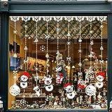 Tuopuda Pegatinas de Navidad Monigote de Nieve Fiesta extraíbles Adorable Papá Noel Nieve Alce Colores Pegatina de Pared Etiqueta engomada de Cristal (A)