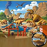 Fototapete Kinderzimmer Abenteuer Dinosaurier - Wandbild Dekoration Dinowelt Comic style jungle adventure Dinosaurus Wasserfall I Foto-Tapete Wandtapete Fotoposter Wanddeko by GREAT ART (336 x 238 cm)