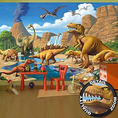 Fotomurales Camera bambini avventure dinosauri – Decorazioni pareti Mondo dei dinosauri stile cartone animato avventure dinosauri cascata I Fotomurales by GREAT ART (336 x 238 cm)