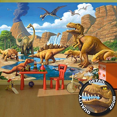 fototapete dino great-art Fototapete Kinderzimmer Dino Abenteuer Dinosaurier - Wandbild Dekoration Dinowelt Comic Style Jungle Dinosaurus Wasserfall I Foto-Tapete Wandtapete Fotoposter Wanddeko by (336 x 238 cm)
