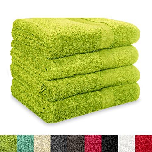 4 tlg. Set Duschtücher MAGIC SOFT | ÖKO TEX Standard 100 | Premium-Qualität | Duschhandtücher / Handtücher in der Größe 70x140 cm | viele Farben | grün