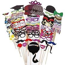 76 DIY Photo Booth Props Atrezzo Favorecer Incluyendo Bigotes Gafas Pelo Arcos Sombreros labios spajaritas coronas para el partido, boda, cumpleaños del favor, de la graduación (76pcs)