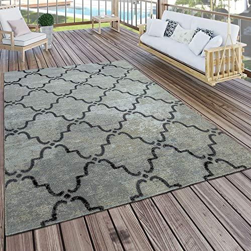 Paco Home In- & Outdoor Teppich Modern Vintage Design Terrassen Teppich Wetterfest Grau, Grösse:60x100 cm