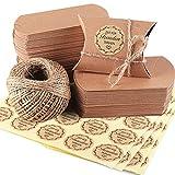 Kraftpapier Schachtel, Rustikale Gastgeschenk Box Kissenförmige Kraftpapie Hochzeit Süßigkeiten Karton Gastgeschenk Klein Papierschachteln Kraftpapier, mit Jute String and Aufkleber, 100 Stk