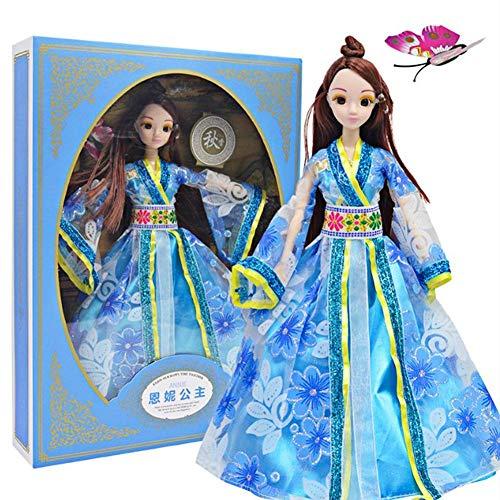 Dress Doll Kostüm Up - Zerodis Chinesische Minipuppen Antike Kostüm Vier Jahreszeiten Prinzessin Dress Up Dolls Box Set Geburtstag Mädchen Kinder(Herbst)