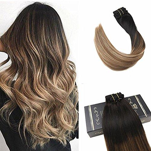 Ugeat 160g 10pcs Clip in Extensions en Cheveux Naturels Tissage Bresilien Balayage Color Noir a moyen Brown avec Golden Blonde 50cm Extensions Remy Hair #1b/6/16