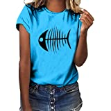 Xmiral T-Shirt Donna a Manica Corta con t-Shirt Casual a Maniche Corte Stampa a Lisca di Pesce