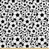 ABAKUHAUS Fußball Stoff als Meterware, Monochrom