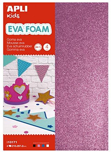 APLI Kids - Bolsa goma EVA purpurina, colores blanco, negro, rosa y azul, A4 4 hojas