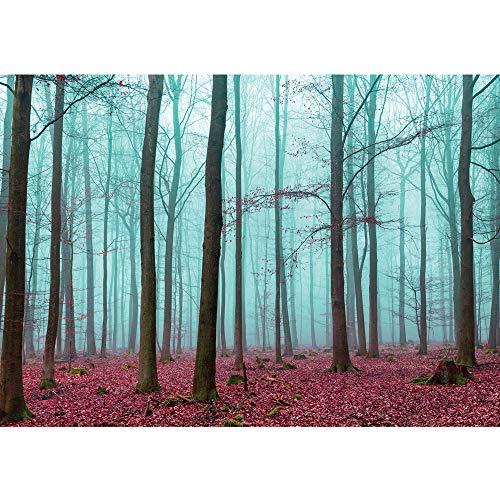 Vlies Fototapete 300x210 cm PREMIUM PLUS Wand Foto Tapete Wand Bild Vliestapete - Wald Tapete Bäume Laub Herbst Nebel blau - no. 818 Herbst Nebel