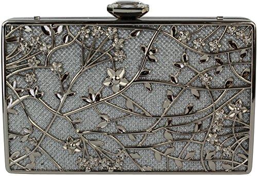 Yongsheng Frauen-Metallblumen-Handtaschen für Partei L9003 (Silver)