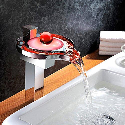 Homelody – Hohe Wasserfall-Waschtischarmatur, Einhebel, LED-Beleuchtung, Verbrühschutz, Chrom - 3