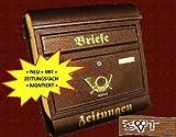 Brauner Briefkasten Retro RD XXL kupfer kupferfarben R / c mit Zeitungsrolle fertig montiert + Einwurf rund