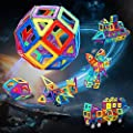 Flyfun Bloques magneticos magneticos, Juguetes construcciones magneticas para Niños, 117 Piezas Bloques Magnéticos 3D Juguetes Construcción, con Trae un Libro Tutorial, una Bolsa de Almacenamiento de Flyfun