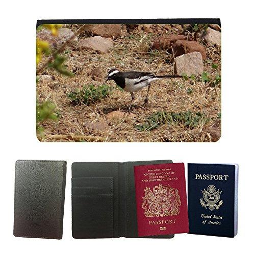 GoGoMobile Cubierta del pasaporte de impresión de rayas // M00124395 Pied ballerina Motacilla Alba Uccello // Universal passport leather cover