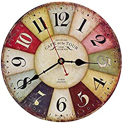 Horloge Murale Vintage en Bois, 30cm Rétro Grand Horloge En Bois, Silencieux Mute No Tick Tack Bruit Horloge Murale pour Cuisine, Décoration de Salon