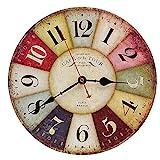 Reloj de Pared de Madera de la Vendimia,30cm Reloj Numérico Grande de Madera Retro,Silencioso No Tick Tack Ruido Reloj de Pared para No Ruidos,Cocina, Decoración de la Sala de Estar