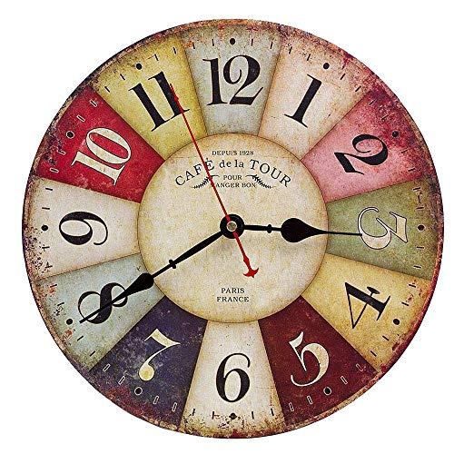 Orologio da Parete in Legno Vintage,30 cm Orologio Numerico Grande in Legno Retro,Silenzioso No Tick Tack Rumore Orologio da Parete per Cucina,Soggiorno Decorazione
