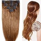 40cm-55cm Clip in Extensions Set 100% Remy Echthaar 8 Teilig 130g-160g Haarverlängerung dick Dopplet Tressen Clip-In Hair Extension (55cm-160g, Nr.6 hellbraun)