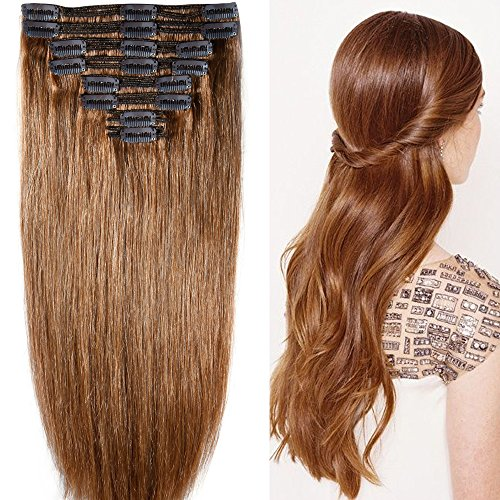40cm-55cm Clip in Extensions Set 100% Remy Echthaar 8 Teilig 130g-160g Haarverlängerung dick Dopplet Tressen Clip-In Hair Extension (45cm-140g, Nr.6 hellbraun)