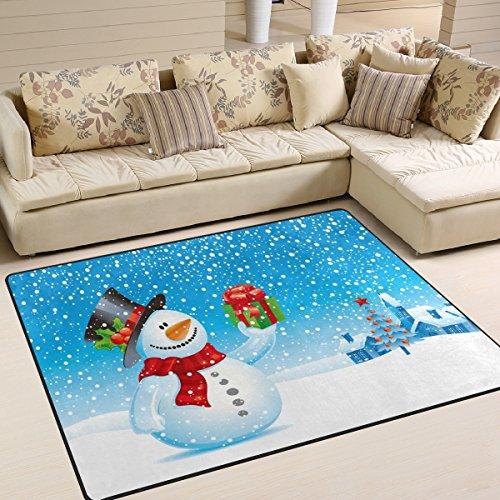 Bereich Teppich, Schneemann Weihnachten Schneeflocken Print Teppich Designer Super Soft Polyester Große rutschfeste Modern Bad-Teppiche für Schlafzimmer Wohnzimmer Hall Abendessen Tisch Home Decor 121,9x 160cm, Textil, multi, 58 x 80 inch (Schneemann-teppich)