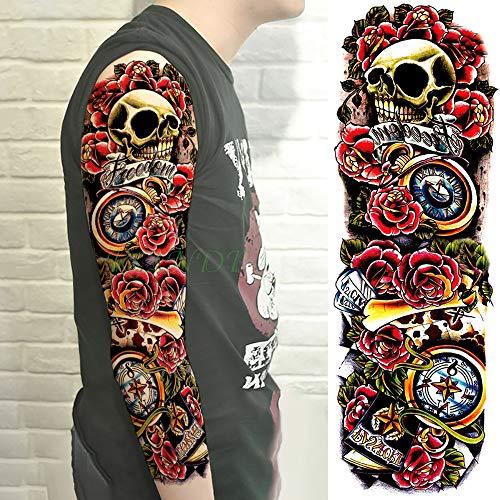 tzxdbh 3Pcs-Waterproof Temporary Tattoo Sticker Schädel Glocke Brief Rose Blume voller Arm Tatto Tattoo Ärmel groß für Männer Frauen 3Pcs-26 -