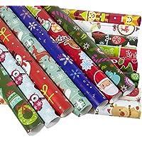 Ruiting Halloween Noël Décoration 10pcs Cadeau de Noël Wrap Papier Ensemble Papier d'emballage de Noël avec Lignes de Coupe sur Cadeaux de Noël décoratifs Rouleaux de Papier (Couleur aléatoire)