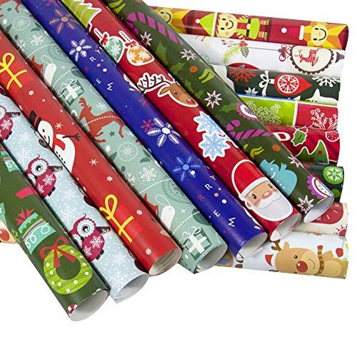NiceButy 10 Stück von Weihnachten Geschenkpapier Weihnachtsverpackungspapierverpackungen Schnittlinie Weihnachtsdekoration Umkehr Geschenkfertigkeitder Rolle Packpapier (gelegentliche Farbe)