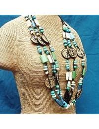 Les Trésors de Lily B8115 - Collar/collar largo 'french touch' 'Fèves Tropicales' de color verde azul.