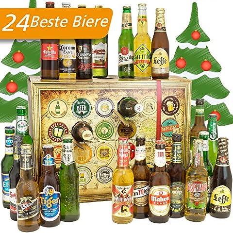 Bier Adventskalender Welt mit Rieder India Pale Ale + Guiness + Tiger + mehr ... Ein tolles Geschenk für Männer. Bierset + Geschenk, Biersorten WELTWEIT. Adventskalender 2017 - mit 24 Biersorten in FLASCHEN Bieradventskalender Welt 2017 - Adventskalender für Männer, Adventskalender für Erwachsene, Bierkalender Adventskalender Alkohol, Weihnachtskalender mit Bier, Bier Adventskalender International, Weihnachtsgeschenke Bier für