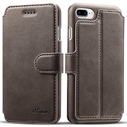 iPhone 8 Plus Hülle, Pasonomi PU Ledertasche Flip Case Tasche Schutzhülle mit Kartenfächer und Standfunktion für iPhone 8 Plus & iPhone 7 Plus 5.5 Zoll (Grau) Grau