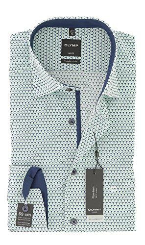 OLYMP Hemd Modern Fit Print grün / blau / weiß - extra langer 69cm Arm Blau