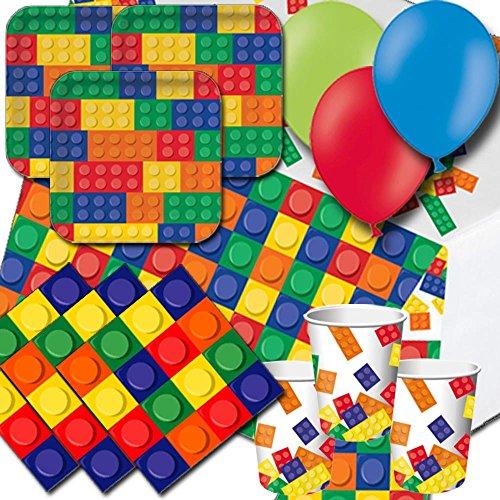 Block Party Pack für 8–Teller, Becher, Servietten, Luftballons und Tischdecke