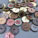 livecity 100 x Mixed Vintage Colorful Blumen Holz Knöpfe Scrapbooking Nähen Craft 20 mm