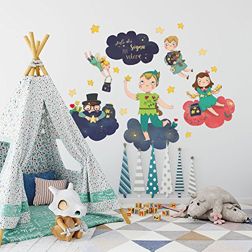 Kina r00442 adesivo murale per bambini wall art - peter pan tra le nuvole - misure 30x120 cm - decorazione parete, adesivi per muro, carta da parati