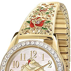 'Jewels Of Nature' Robin Gold-Plated Stretch Watch By The Bradford Exchange