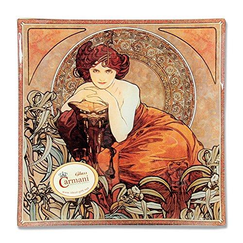 CARMANI - Dekorative quadratische Platte mit Mucha Malerei, Amethyst gedruckt 20x20cm - Malerei-glas-platten
