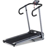 Homcom Tapis de Course Fitness électrique Pliable - 1 à 10 Km/h - écran LCD Multifonctions - Puissance 500 W - Gris…