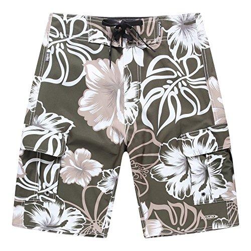 Hombres-Ropa-de-playa-Pantalones-cortos-con-bolsillo-en-verde-con-hibisco-gris-42