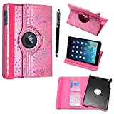 Kamal Star® iPad Mini 4 Ultra Slim Cover Smart Leather Case with Stand / Auto Sleep Wake-up+Free Stylus (Rose Pink Diam