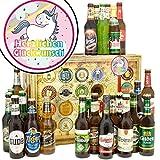 Herzlichen Glückwunsch Einhorn | Bierbox | Biere aus aller Welt und Deutschland | Herzlichen Glückwunsch Einhorn | Biergeschenke | Einhorn Party | INKL Geschenkkarten + Umschläge 6x, 3x Urkunde, Bier Bewertungsbogen