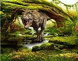 Wh-Porp Benutzerdefinierte Tapete Startseite Dekorative Wandbild 3D Dinosaurier Landschaft Wald Tv Hintergrundbild Fototapete 3D Tapete-200Cmx140Cm