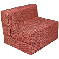 Uberlyfe Sofa Cum Bed - Perfect for Guests - Poly Cotton Fabric Washable Cover -Check Red| 3' X 6' Feet. (SCB-001725-CHK-RD)