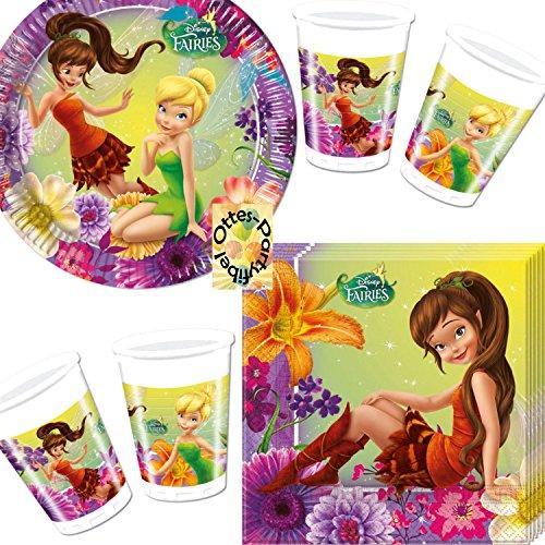 Fairies Magic Tinkerbell Partyset 52tlg. Teller Becher Servietten für 16 ()
