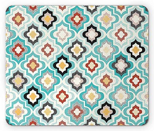 Moroccan Trellis Mouse Pad, Ornate Geometric Motifs Pattern with Grunge Effect Bohemian Arabic Design, Standard Size Rectangle Non-Slip Rubber Mousepad, Multicolor -