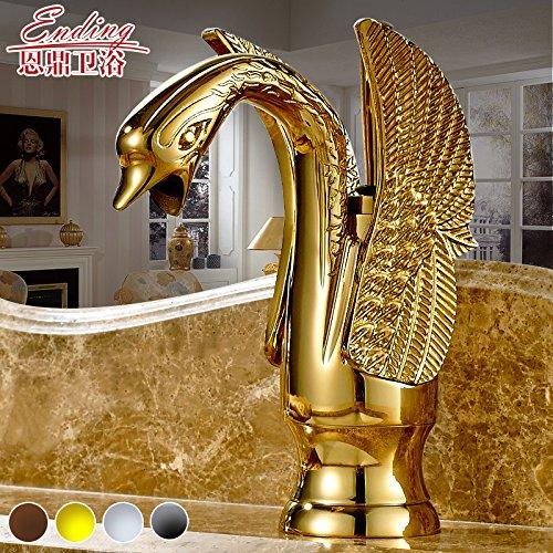 Preisvergleich Produktbild SBWYLT-Europäischen Antike Kupfer Waschbecken Waschbecken Kunst Retro-Becken kreative blonde heißen und kalten Wasserhahn Einlochmontage Wasserhahn