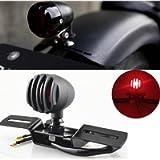 KATUR 1Pcs 12V 10W Motorcycle Tail Light Stop Licenses Brake Lamp For Chopper Bobber Cafe Racer,Bullet Steel Housing…